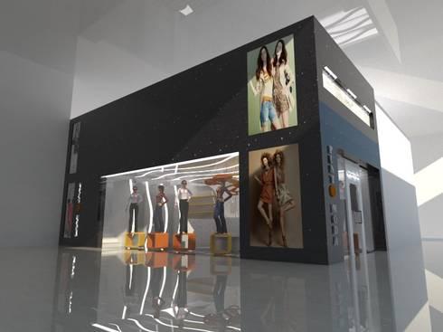FACHADA LATERAL: Espacios comerciales de estilo  por CelyGarciArquitectos c.a.
