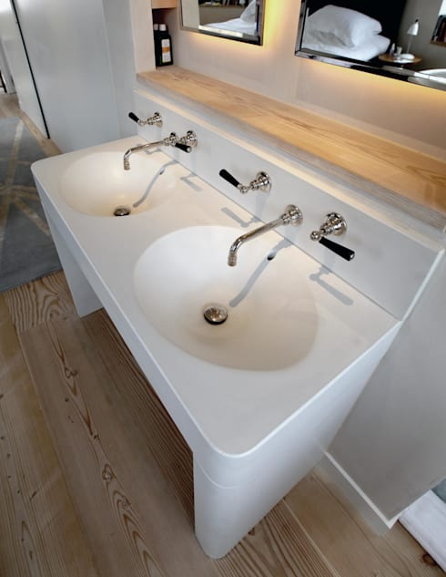 White Concrete / Marble Sink :  Bathroom by Forma Studios