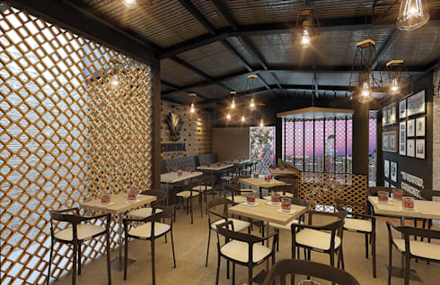 PLANTA ALTA: Bares y discotecas de estilo  por GRUPO ESCALA ARQUITECTOS