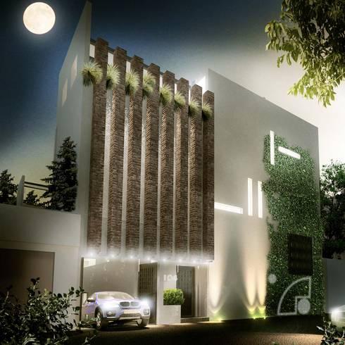 Fachada principal: Casas de estilo moderno por ECM arquitectura