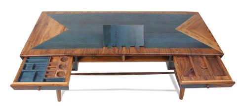 Aizvara: A solid wood executive desk: modern Study/office by Alankaram