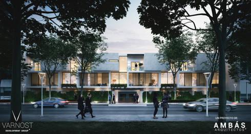 Fachada Principal: Balcones y terrazas de estilo moderno por Ambás Arquitectos