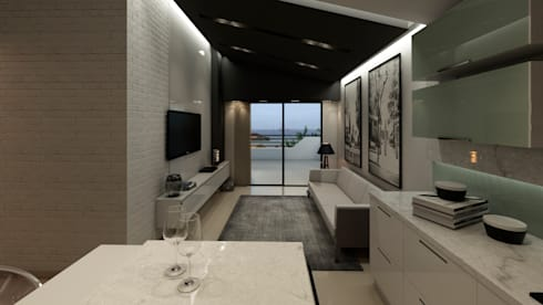 APARTAMENTO JS: Salas / recibidores de estilo moderno por NOGARQ C.A.
