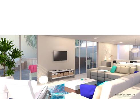 Decoração para sala de apartamento em Maputo:   por Esfera de Imagens Lda