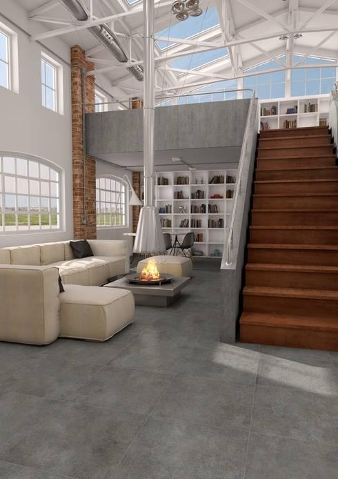 Ontwerp uw woonkamer met tegels: industriële Woonkamer door Sani-bouw