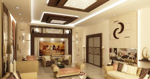 تصاميم داخلية فيلا سكنية (1):  تصميم مساحات داخلية تنفيذ rashaatalla
