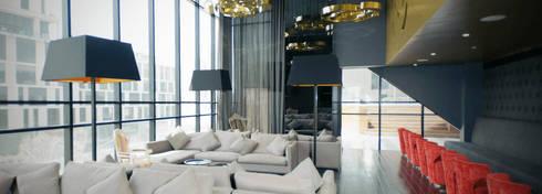 Amenidades Magma: Salas de estilo moderno por Línea Vertical