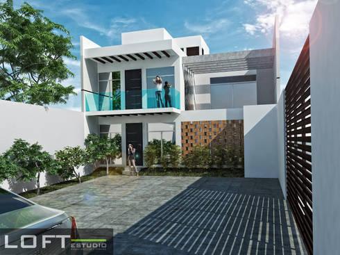 Casa Beth Fachada Interior: Casas de estilo moderno por LOFT ESTUDIO arquitectura y diseño