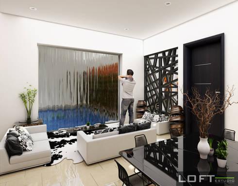Estancia : Salas de estilo moderno por LOFT ESTUDIO arquitectura y diseño