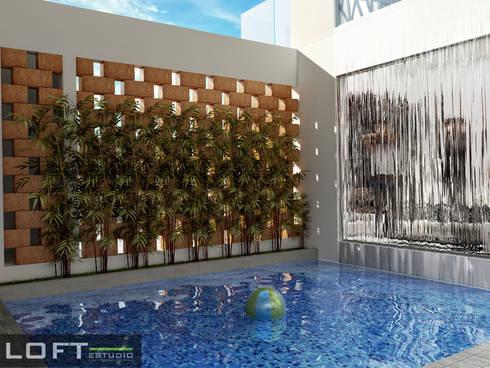 Alberca: Albercas de estilo moderno por LOFT ESTUDIO arquitectura y diseño