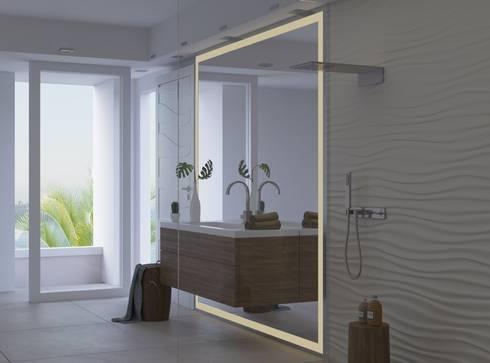 badspiegel mit rundherum beleuchtung by spiegelshop24 homify. Black Bedroom Furniture Sets. Home Design Ideas