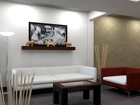 Sala con estilo fresco:  de estilo  por Arq. Rodrigo Culebro Sánchez