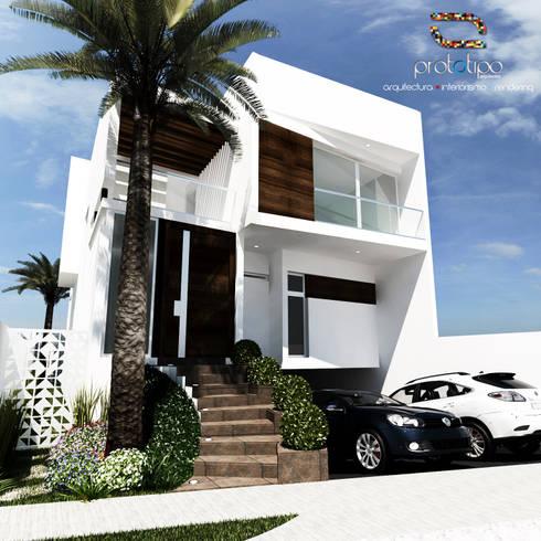 Fachada Casa 57 Casa Fuerte: Casas de estilo moderno por Prototipo Arquitectos