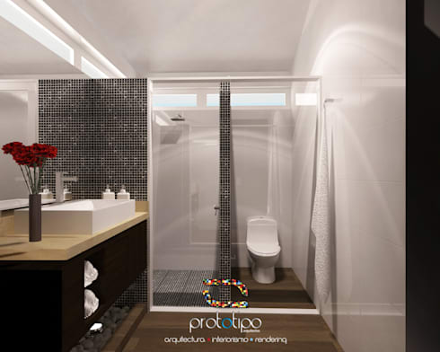Baño Casa 57 Casa Fuerte: Baños de estilo  por Prototipo Arquitectos