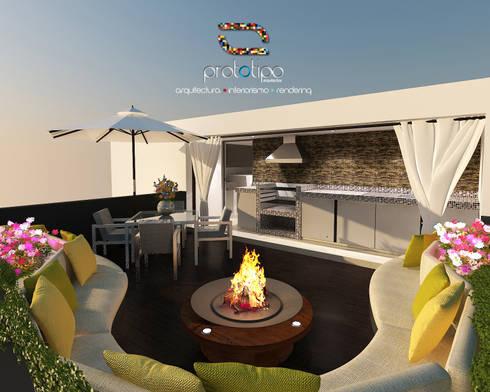 Roof Garden Casa 57 Casa Fuerte: Salas de estilo moderno por Prototipo Arquitectos