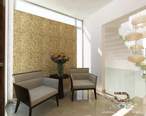 Vestíbulo Casa 57 Casa Fuerte: Pasillos y recibidores de estilo  por Prototipo Arquitectos
