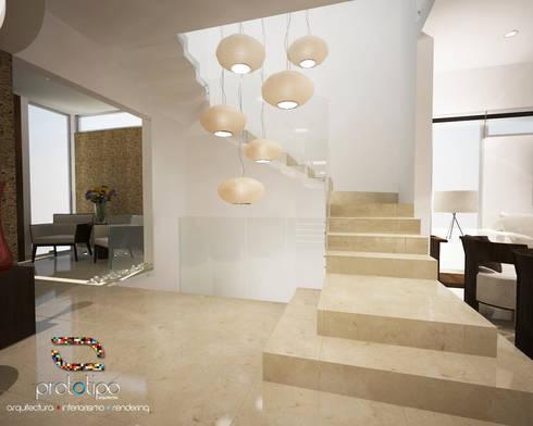 Escaleras Casa 57 Casa Fuerte: Pasillos y recibidores de estilo  por Prototipo Arquitectos