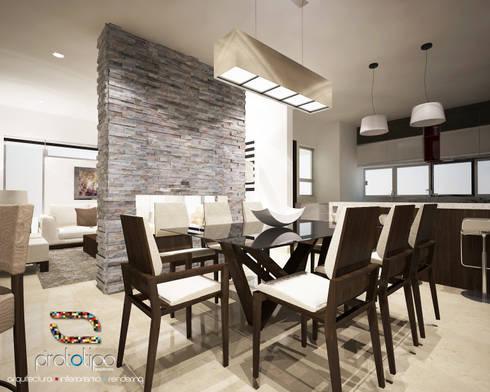 Comedor Casa 57 Casa Fuerte: Comedores de estilo moderno por Prototipo Arquitectos