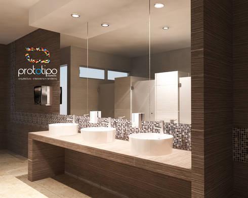 Baños Terraza Sebastian: Baños de estilo  por Prototipo Arquitectos