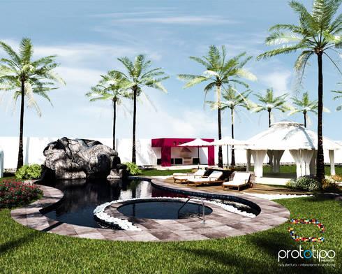 Alberca Terraza Sebastian: Albercas de estilo moderno por Prototipo Arquitectos