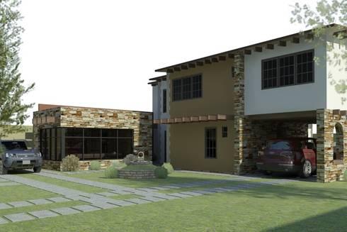 Fachada Principal Interna: Casas de estilo ecléctico por Arq. Rodrigo Culebro Sánchez