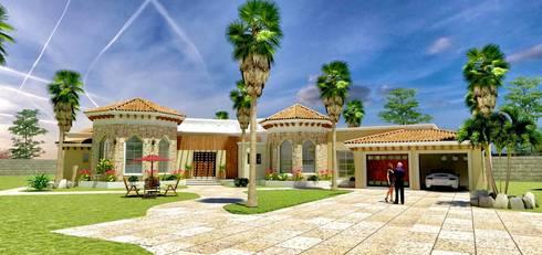 VISTA EXTERIOR: Casas de estilo clásico por VISION+ARQUITECTOS