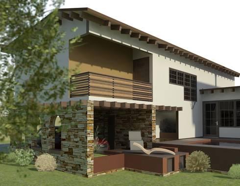 Fachada Trasera: Casas de estilo ecléctico por Arq. Rodrigo Culebro Sánchez