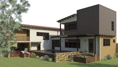 Fachada Lateral: Casas de estilo ecléctico por Arq. Rodrigo Culebro Sánchez