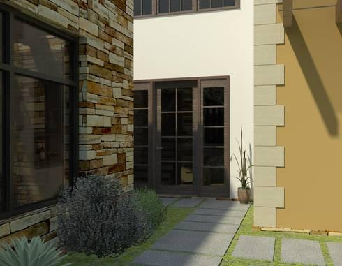 Acceso a Casa: Casas de estilo ecléctico por Arq. Rodrigo Culebro Sánchez