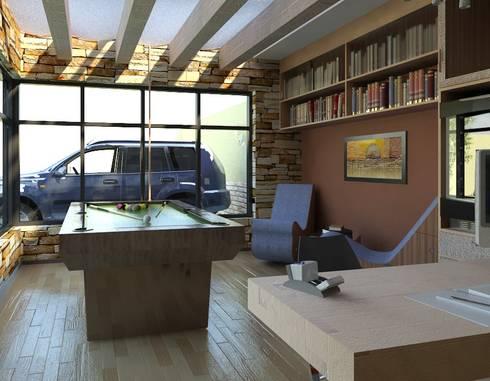 Estudio y Salon de Juegos: Estudios y oficinas de estilo ecléctico por Arq. Rodrigo Culebro Sánchez
