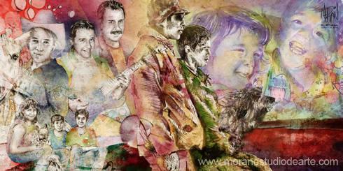 El Retrato Familiar que realizo contiene las vivencias más importantes de la familia...: Arte de estilo  por MORAN Estudio De Arte