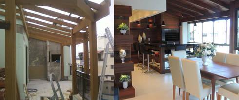 Antes e depois da execução da churrasqueira: Varanda, alpendre e terraço  por Rosé Indoor Design