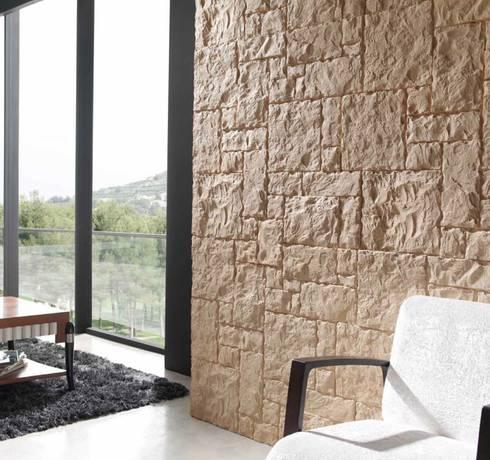 TotalStone reproduce la textura y el color de la piedra, el ladrillo y la pizarra.: Paredes de estilo  por FORMICA Venezuela