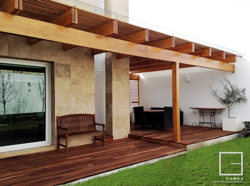 Terraza - Jardín Final:  de estilo  por CABSA Taller de Carpintería & Arquitectura