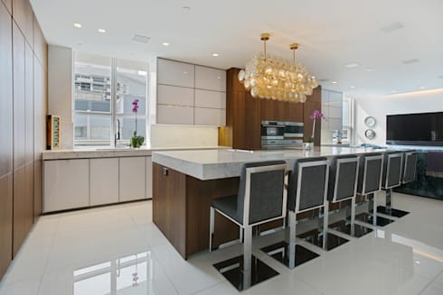 Collins Avenue Project Kitchen and Bathrooms: modern Kitchen by ALNO North America