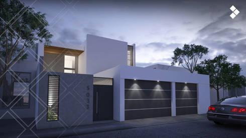 Fachada nocturna: Casas de estilo moderno por CDR CONSTRUCTORA