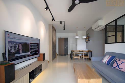 Punggol Waterway Brooks BTO: minimalistic Living room by Designer House