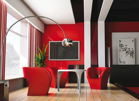 DuraGloss está disponible en cantos bicolor (aluminio + color) para cada color o diseño de la colección.: Oficinas de estilo moderno por FORMICA Venezuela