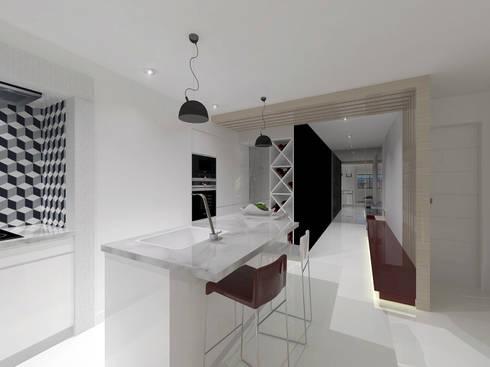 Remodelação Apartamento Principe Real: Cozinhas modernas por Projectos Arquitectura & 3D