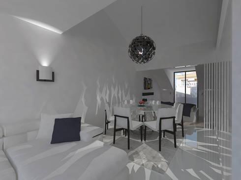 Remodelação Apartamento Principe Real: Salas de estar modernas por Projectos Arquitectura & 3D