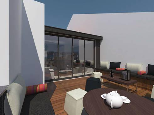 Remodelação Apartamento Principe Real: Terraços  por Projectos Arquitectura & 3D