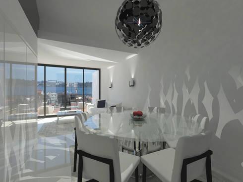 Remodelação Apartamento Principe Real: Salas de jantar modernas por Projectos Arquitectura & 3D