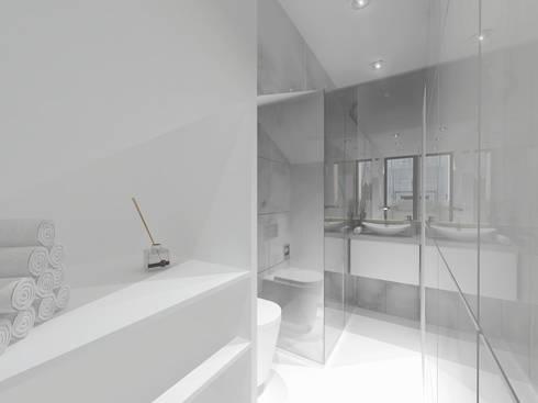 Remodelação Apartamento Principe Real: Casas de banho modernas por Projectos Arquitectura & 3D