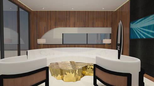 Stand de Vendas: Locais de eventos  por Projectos Arquitectura & 3D