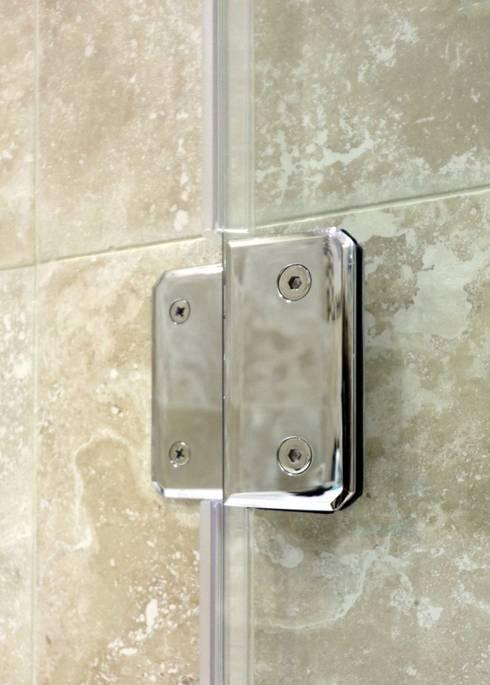 Chrome hinges frameless glass bathscreen :  Bathroom by Ion Glass