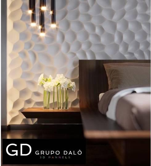 DISEÑOS EXCLUSIVOS: Paredes y pisos de estilo moderno por GRUPO DALÒ    PANELES DECORATIVOS EN 3D