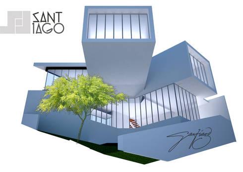 Propuesta para Edificio de Colegio deArquitectos Tecate: Estudios y oficinas de estilo minimalista por SANT1AGO arquitectura y diseño