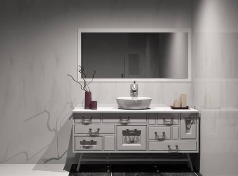 movel de banho: Casas de banho clássicas por Amplitude - Mobiliário lda