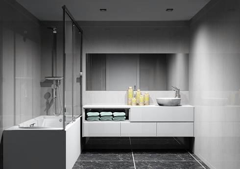 Moveis de banho: Casas de banho modernas por Amplitude - Mobiliário lda