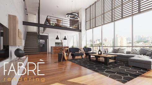 LOFT - EQUILIBRIO: Salas / recibidores de estilo moderno por FABRE STUDIO